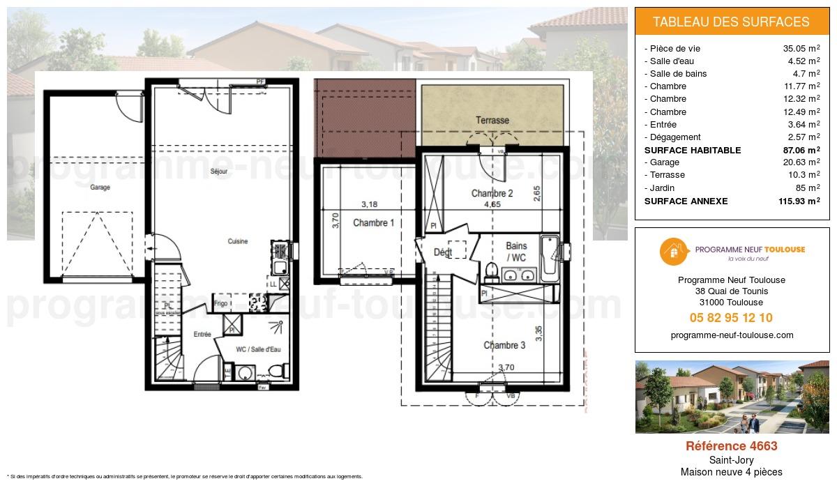 Plan pour un Maison neuve de  87.06m² à Saint-Jory
