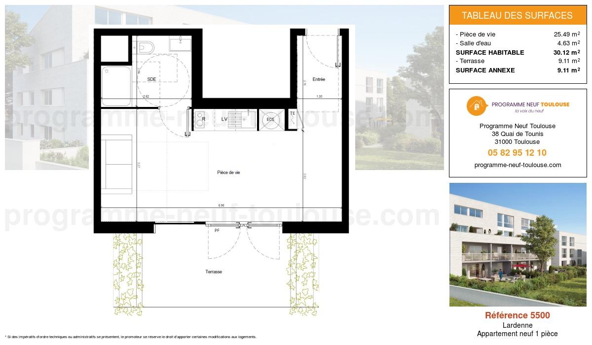 Plan pour un Appartement neuf de  30.12m² à Lardenne