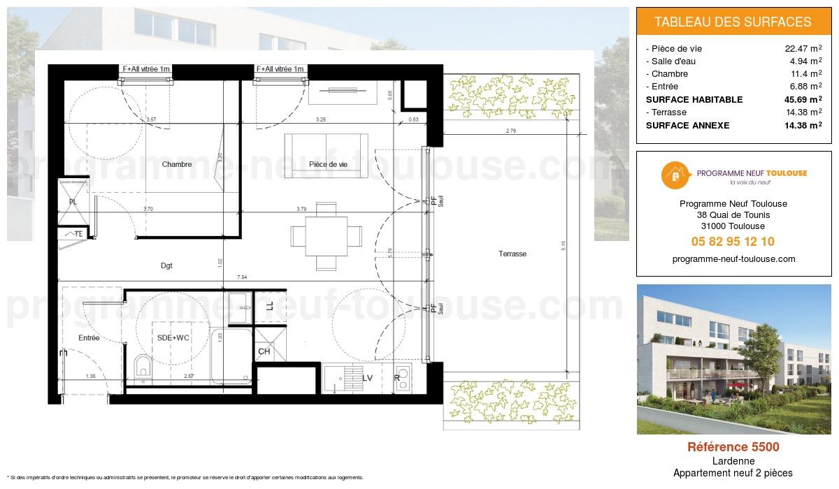 Plan pour un Appartement neuf de  45.69m² à Lardenne