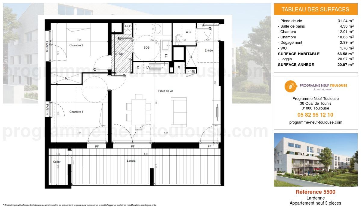Plan pour un Appartement neuf de  63.58m² à Lardenne