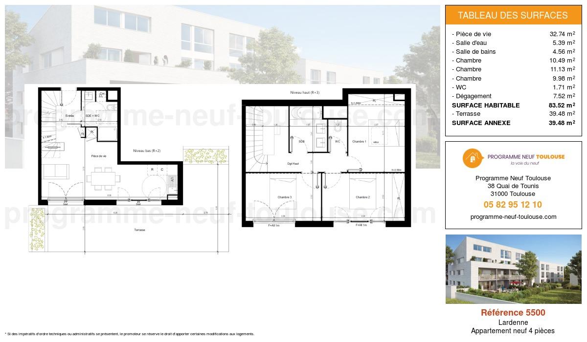 Plan pour un Appartement neuf de  88.57m² à Lardenne