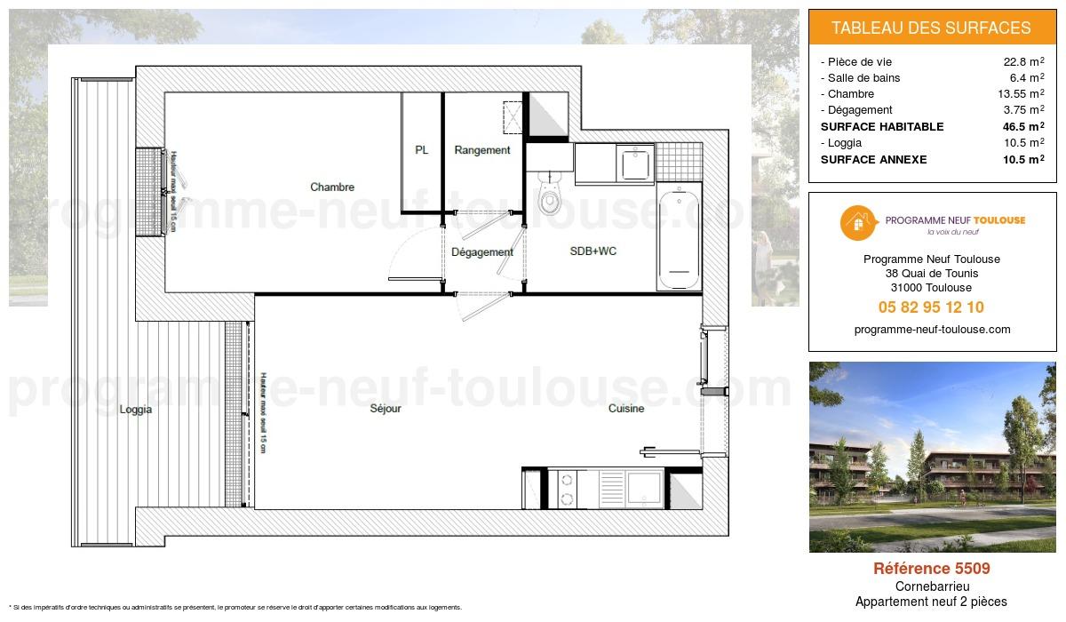 Plan pour un Appartement neuf de  46.5m² à Cornebarrieu