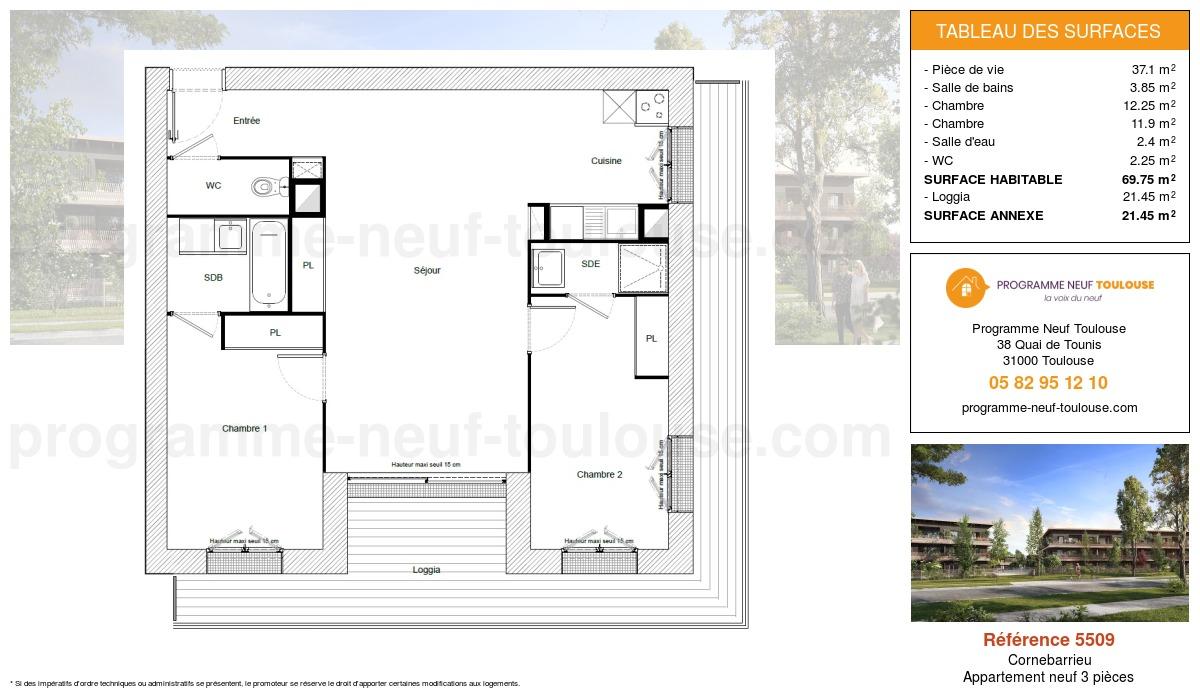 Plan pour un Appartement neuf de  69.75m² à Cornebarrieu