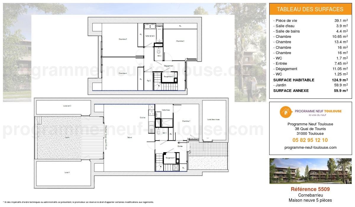 Plan pour un Maison neuve de  124.9m² à Cornebarrieu