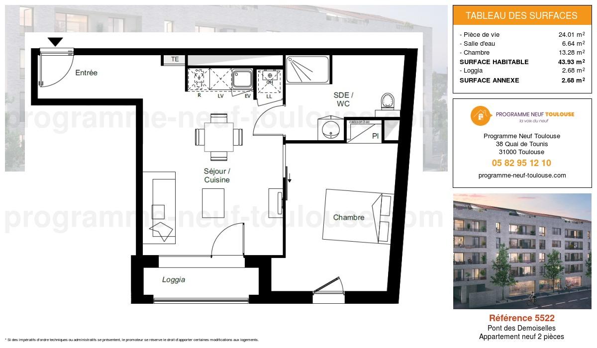 Plan pour un Appartement neuf de  43.93m² à Pont des Demoiselles