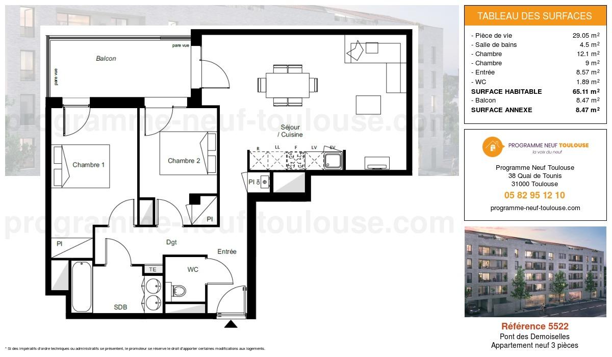 Plan pour un Appartement neuf de  65.11m² à Pont des Demoiselles