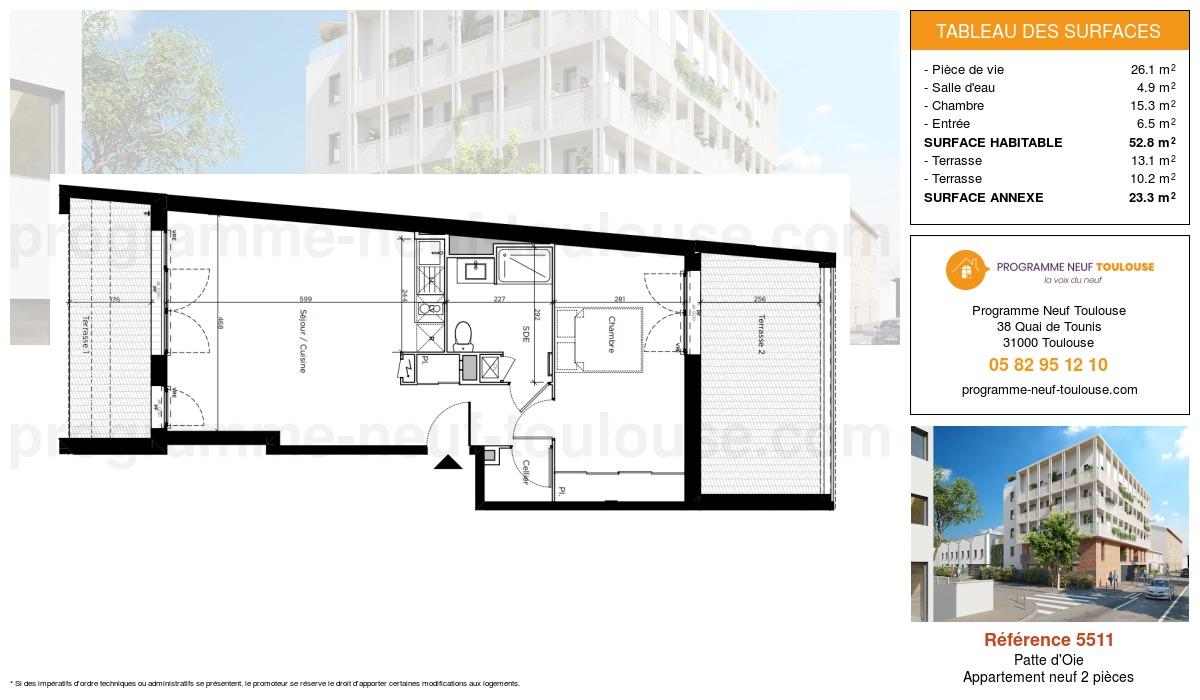 Plan pour un Appartement neuf de  53.8m² à Patte d'Oie