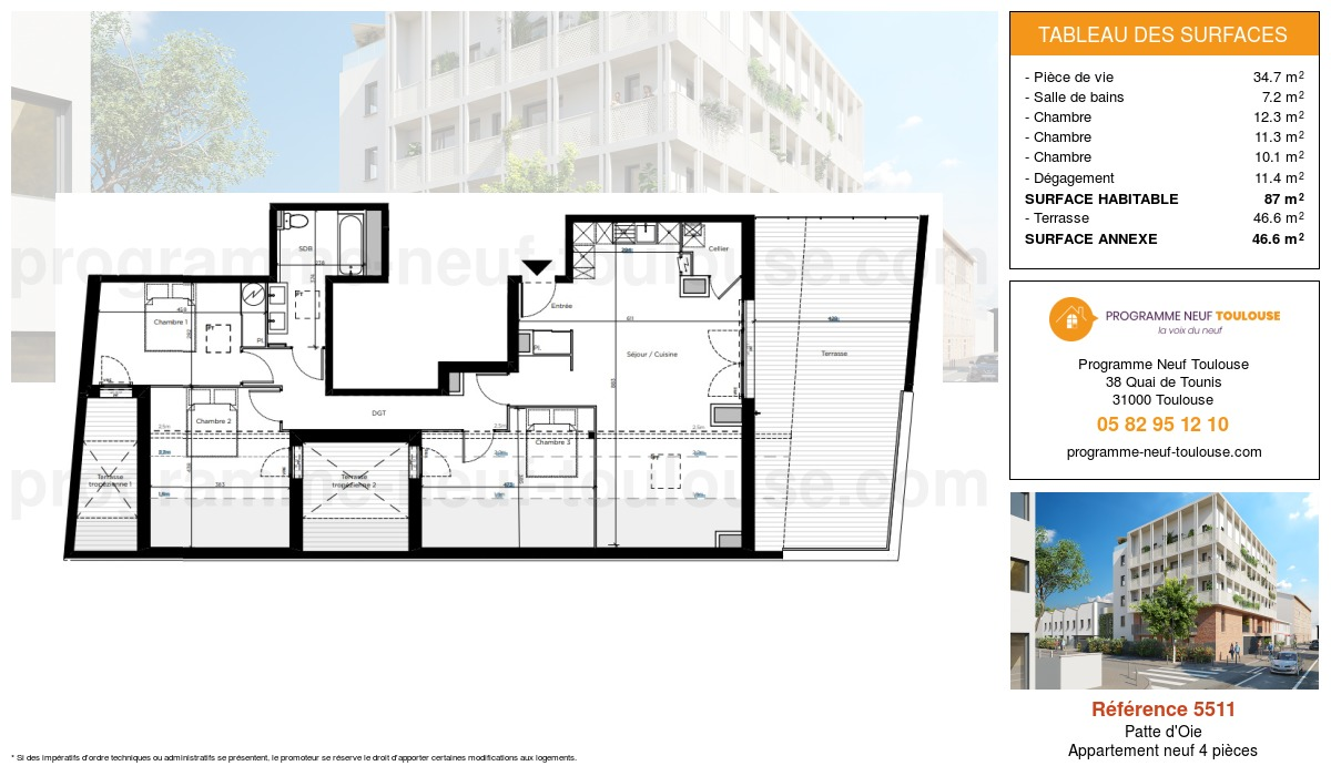 Plan pour un Appartement neuf de  87m² à Patte d'Oie