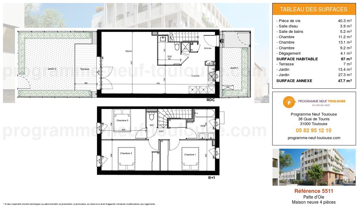 Plan pour un Maison neuve de  87m² à Patte d'Oie
