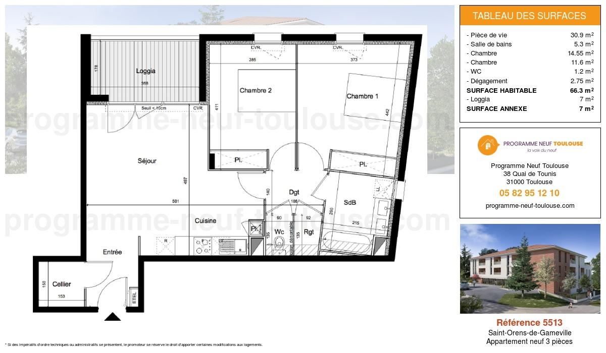 Plan pour un Appartement neuf de  66.3m² à Saint-Orens-de-Gameville