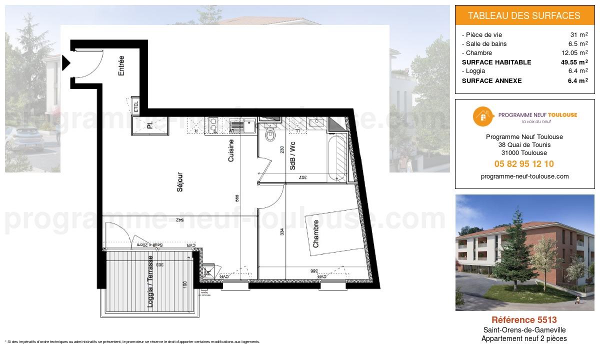 Plan pour un Appartement neuf de  49.55m² à Saint-Orens-de-Gameville