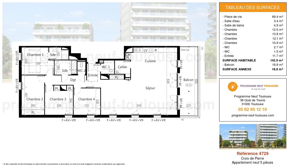 Plan pour un Appartement neuf de  142.9m² à Croix de Pierre