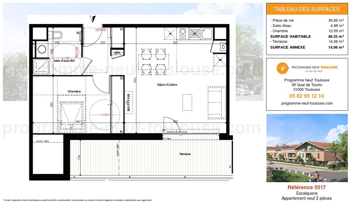Plan pour un Appartement neuf de  48.22m² à Escalquens