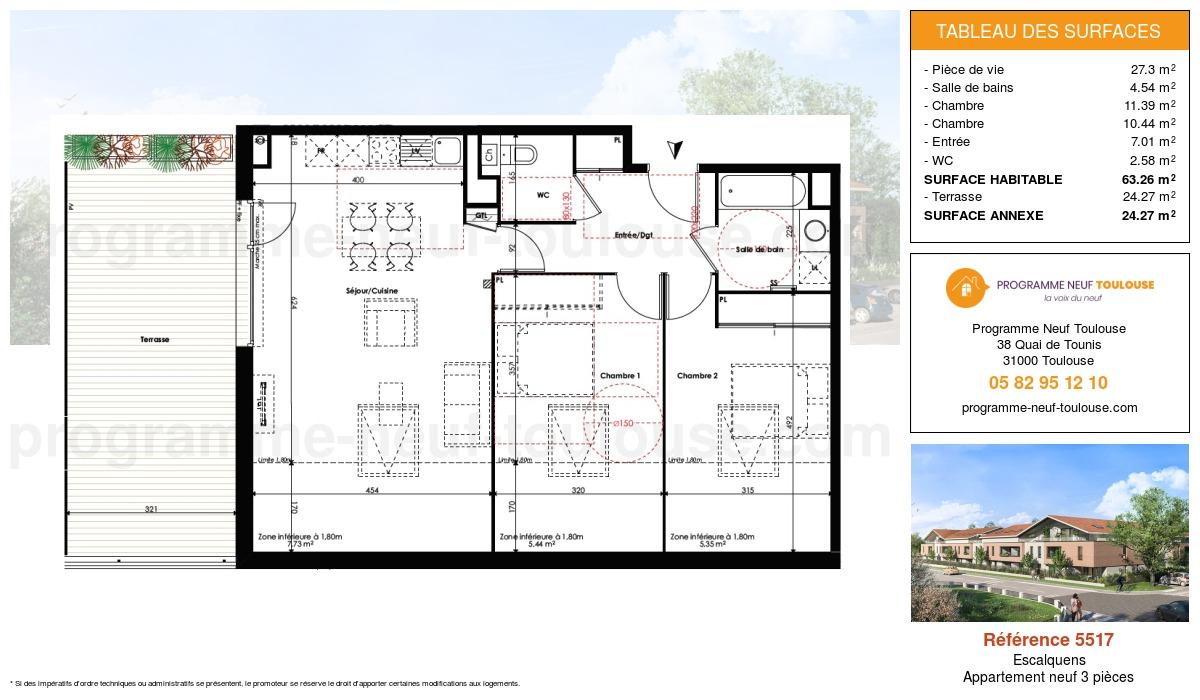 Plan pour un Appartement neuf de  63.26m² à Escalquens