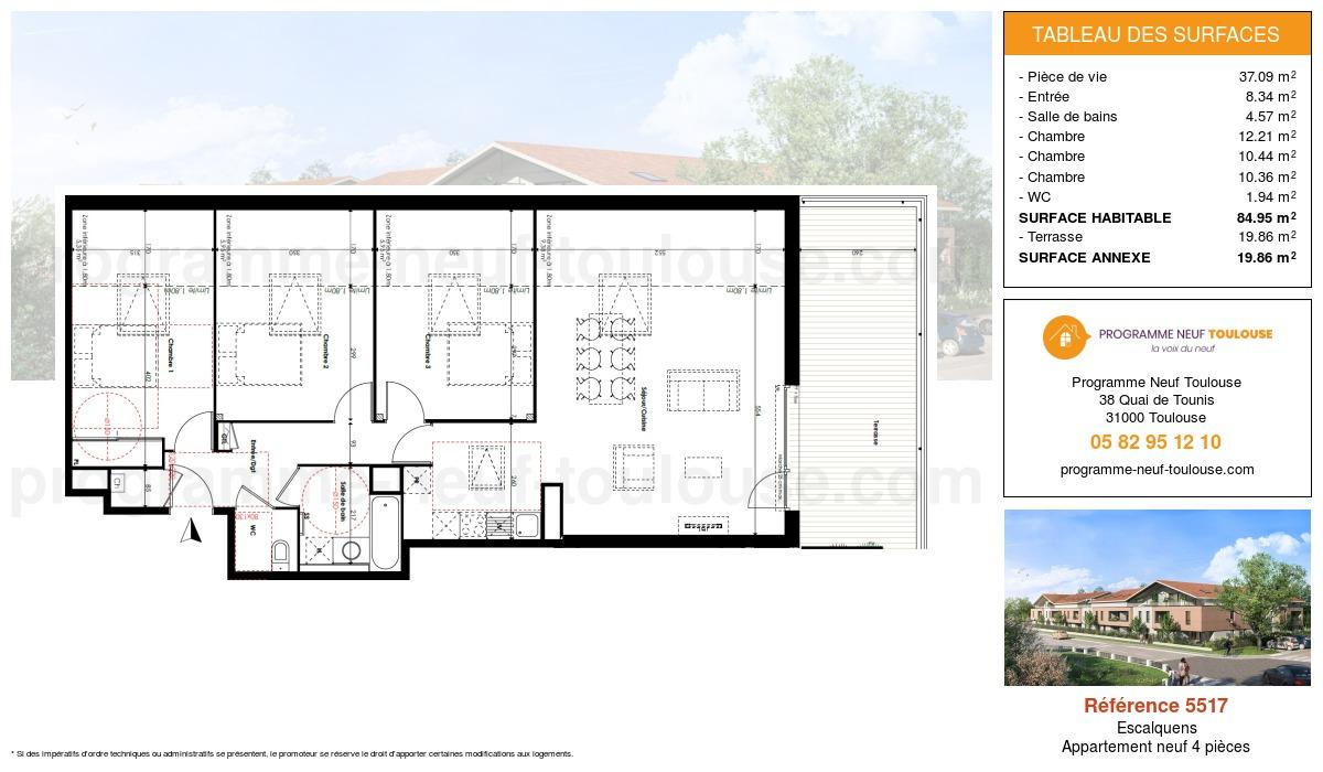 Plan pour un Appartement neuf de  84.95m² à Escalquens