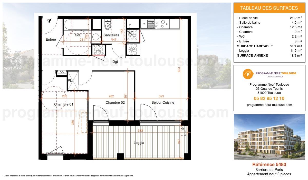 Plan pour un Appartement neuf de  59.2m² à Barrière de Paris