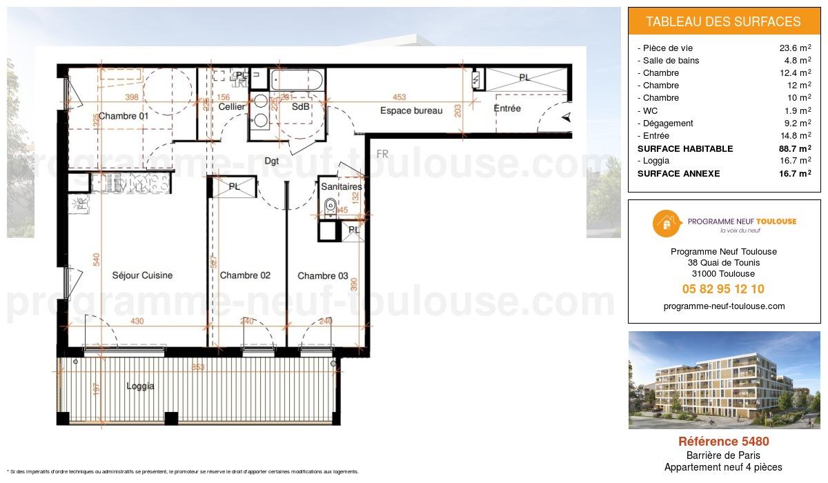 Plan pour un Appartement neuf de  88.7m² à Barrière de Paris