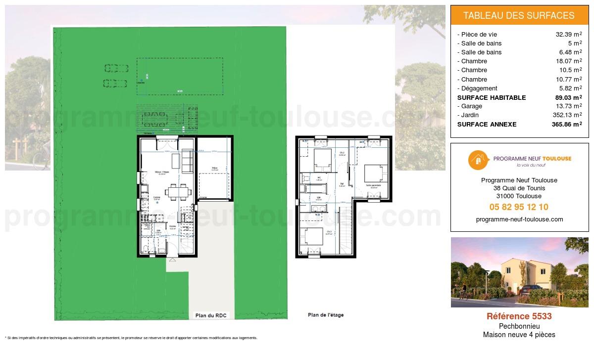 Plan pour un Maison neuve de  89.03m² à Pechbonnieu