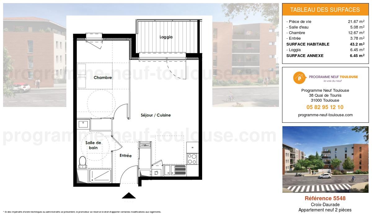 Plan pour un Appartement neuf de  42.8m² à Croix-Daurade