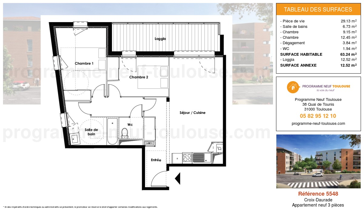 Plan pour un Appartement neuf de  63.24m² à Croix-Daurade