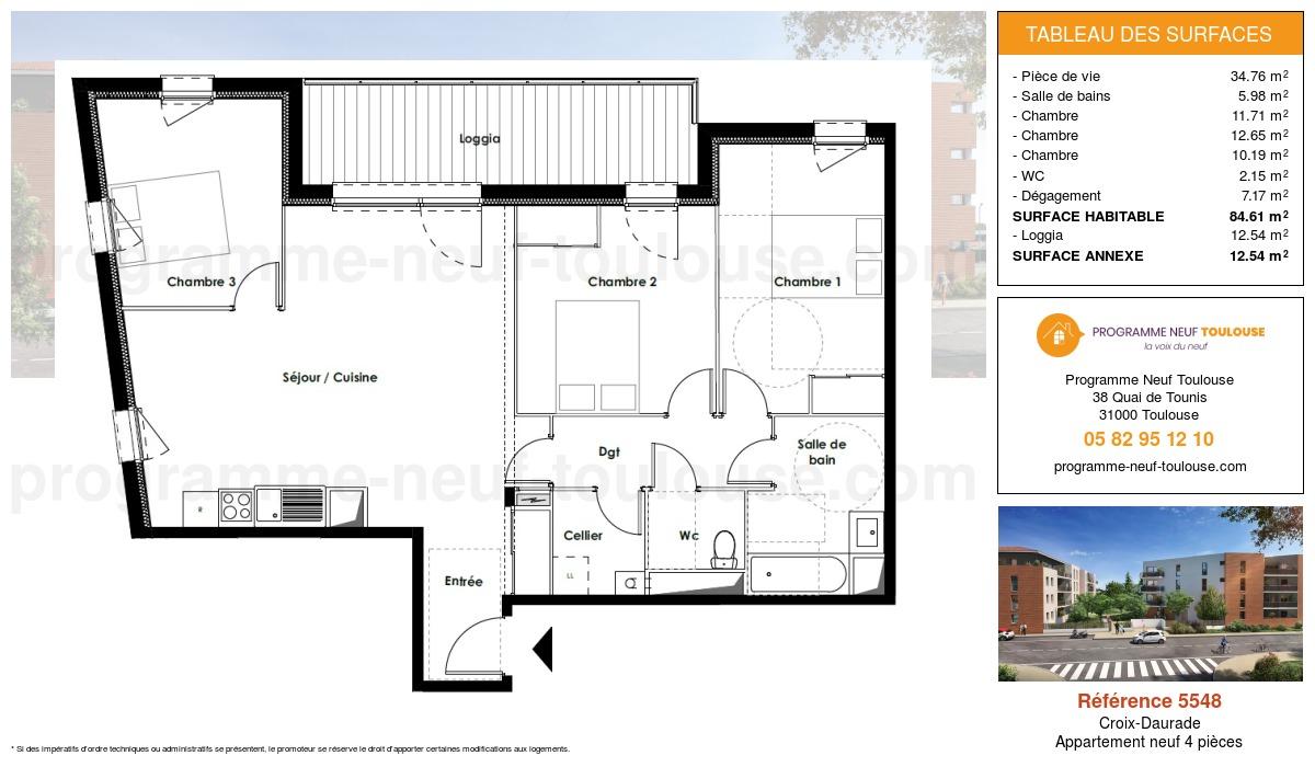 Plan pour un Appartement neuf de  84.61m² à Croix-Daurade