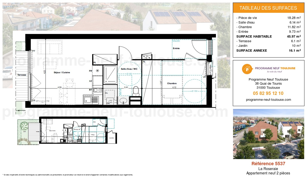 Plan pour un Appartement neuf de  45.97m² à La Roseraie