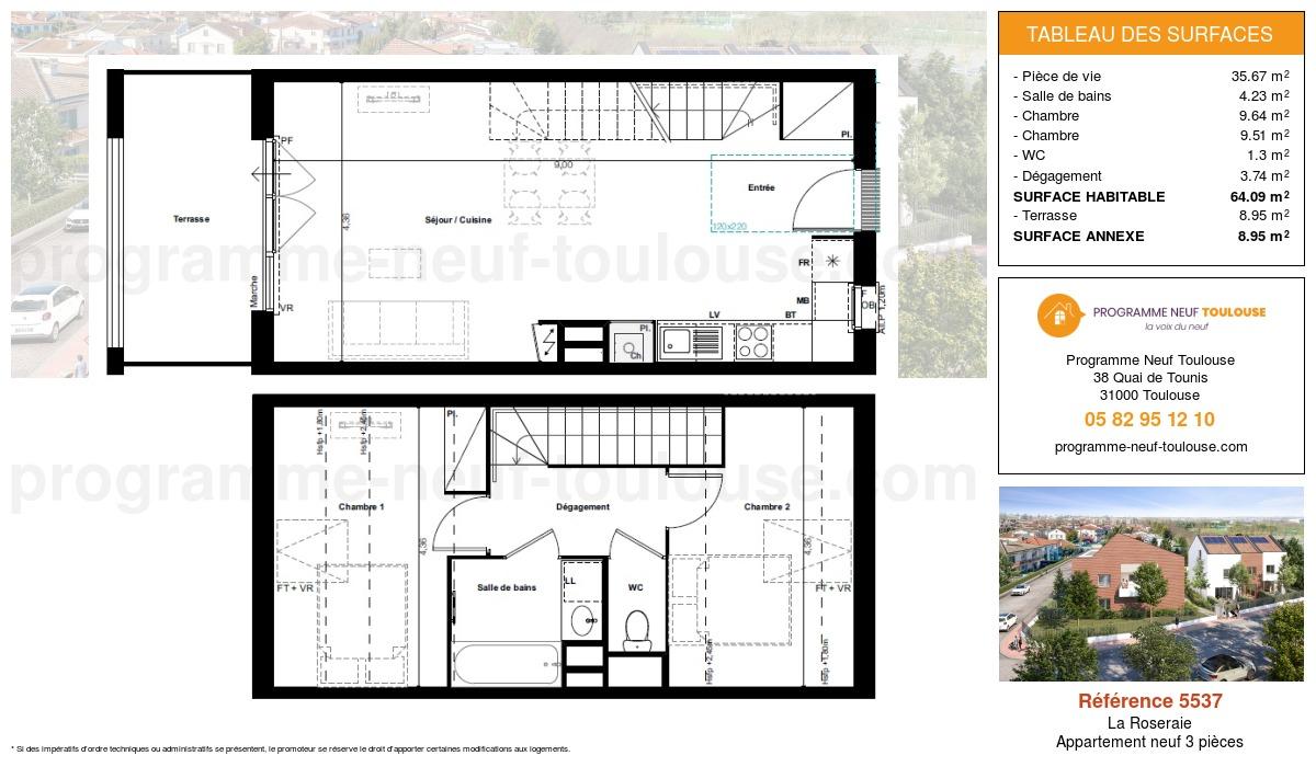 Plan pour un Appartement neuf de  64.09m² à La Roseraie