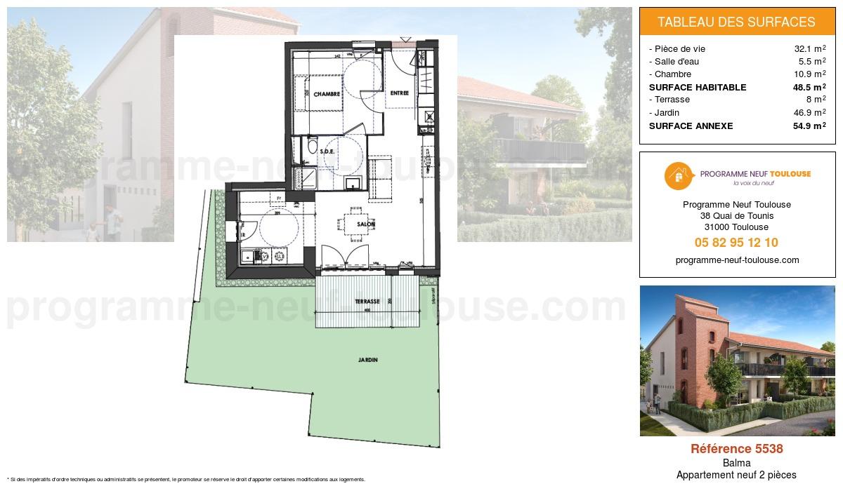 Plan pour un Appartement neuf de  48.5m² à Balma