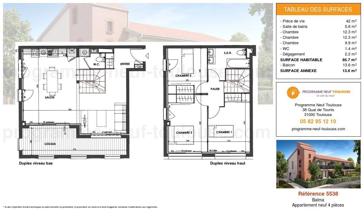 Plan pour un Appartement neuf de  85.78m² à Balma