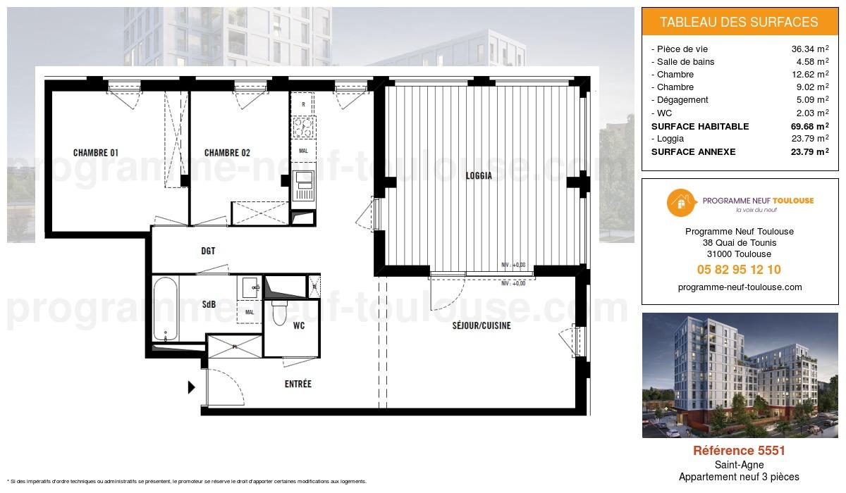 Plan pour un Appartement neuf de  69.68m² à Saint-Agne