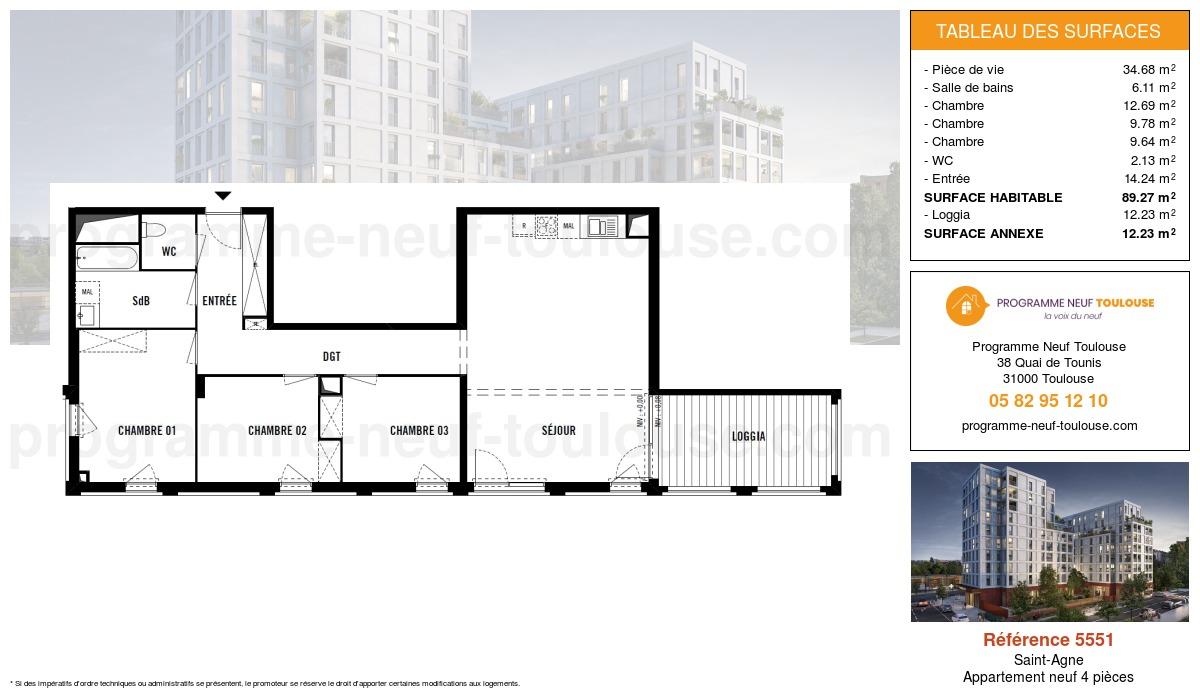 Plan pour un Appartement neuf de  89.27m² à Saint-Agne