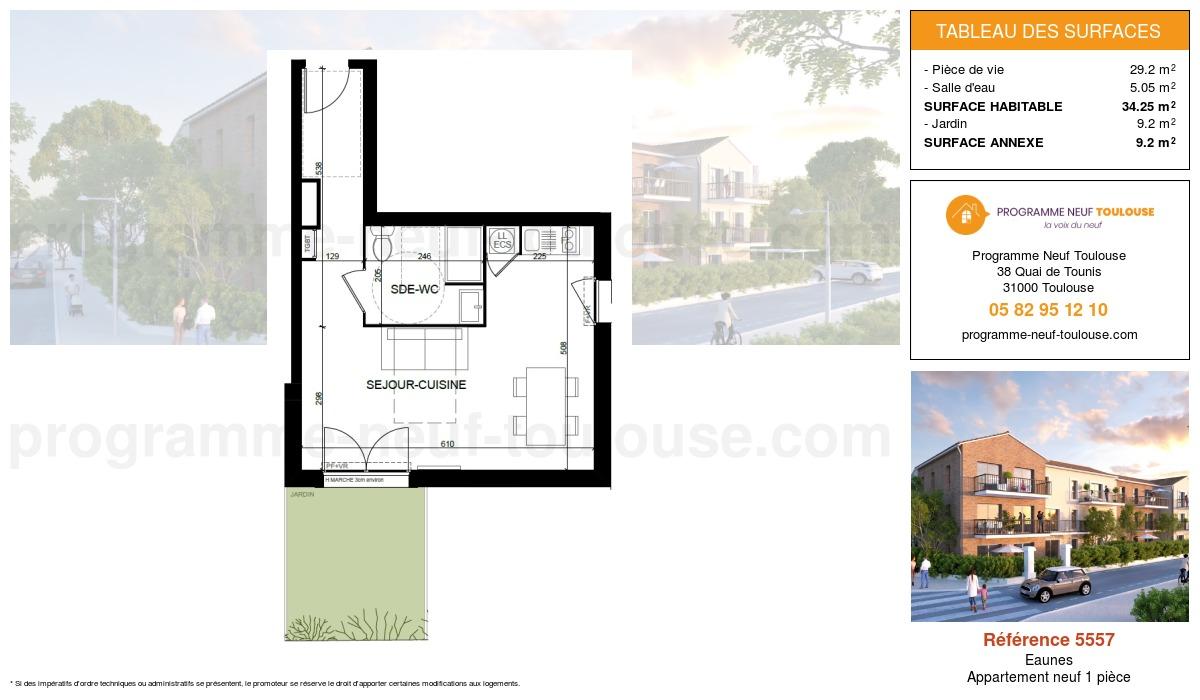 Plan pour un Appartement neuf de  34.25m² à Eaunes