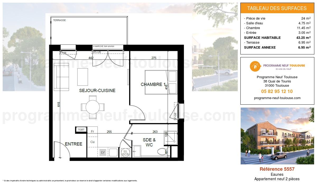 Plan pour un Appartement neuf de  43.25m² à Eaunes