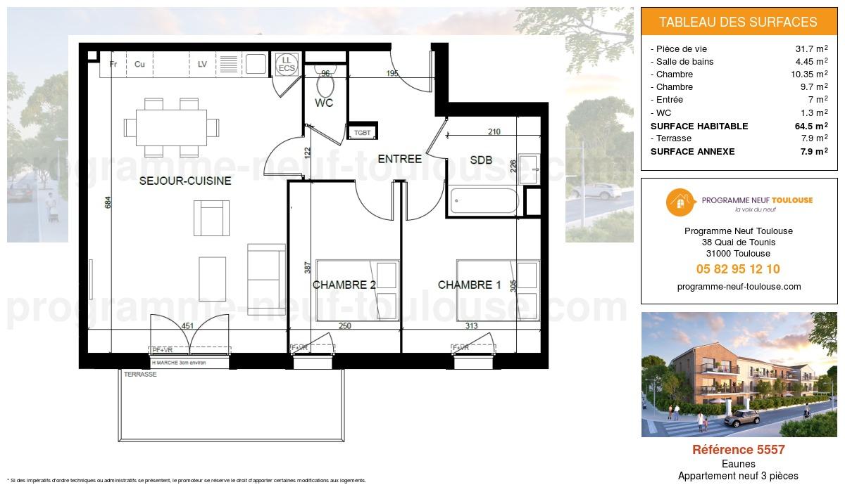 Plan pour un Appartement neuf de  64.5m² à Eaunes