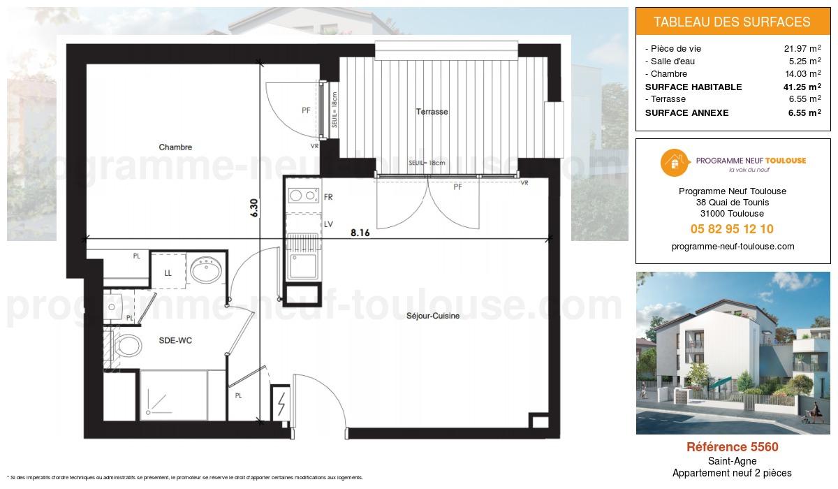 Plan pour un Appartement neuf de  41.25m² à Saint-Agne