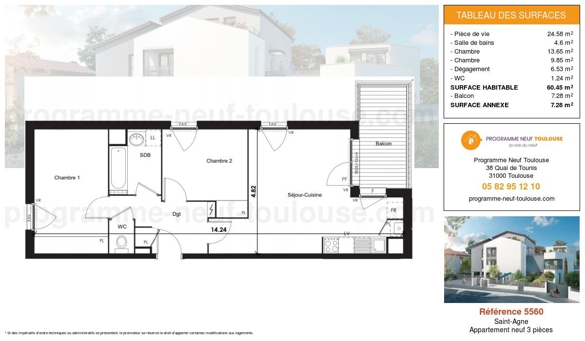 Plan pour un Appartement neuf de  60.45m² à Saint-Agne