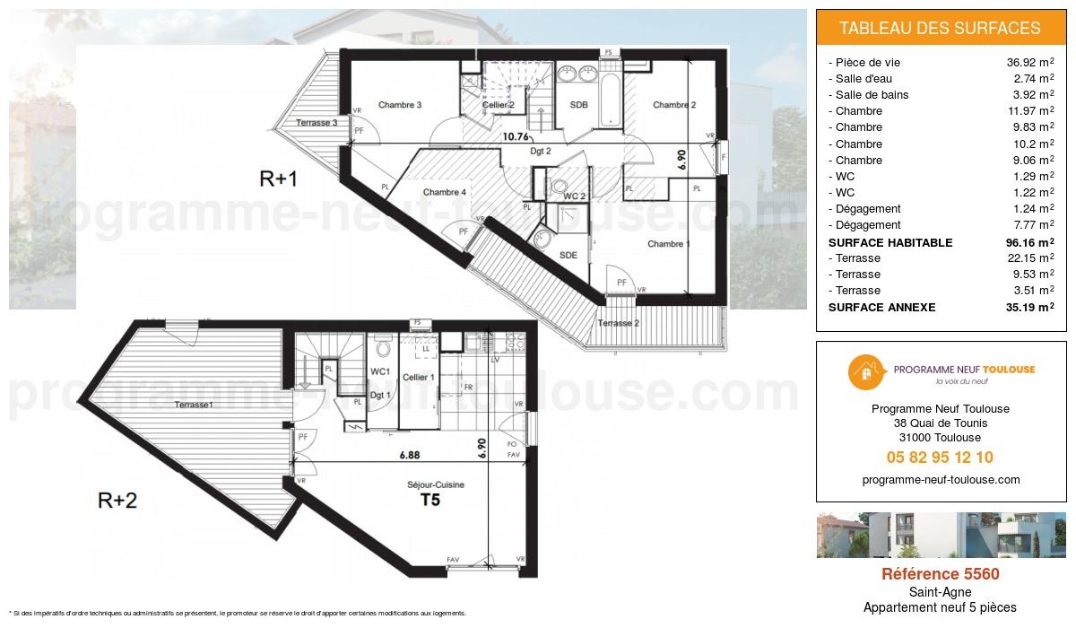 Plan pour un Appartement neuf de  96.16m² à Saint-Agne