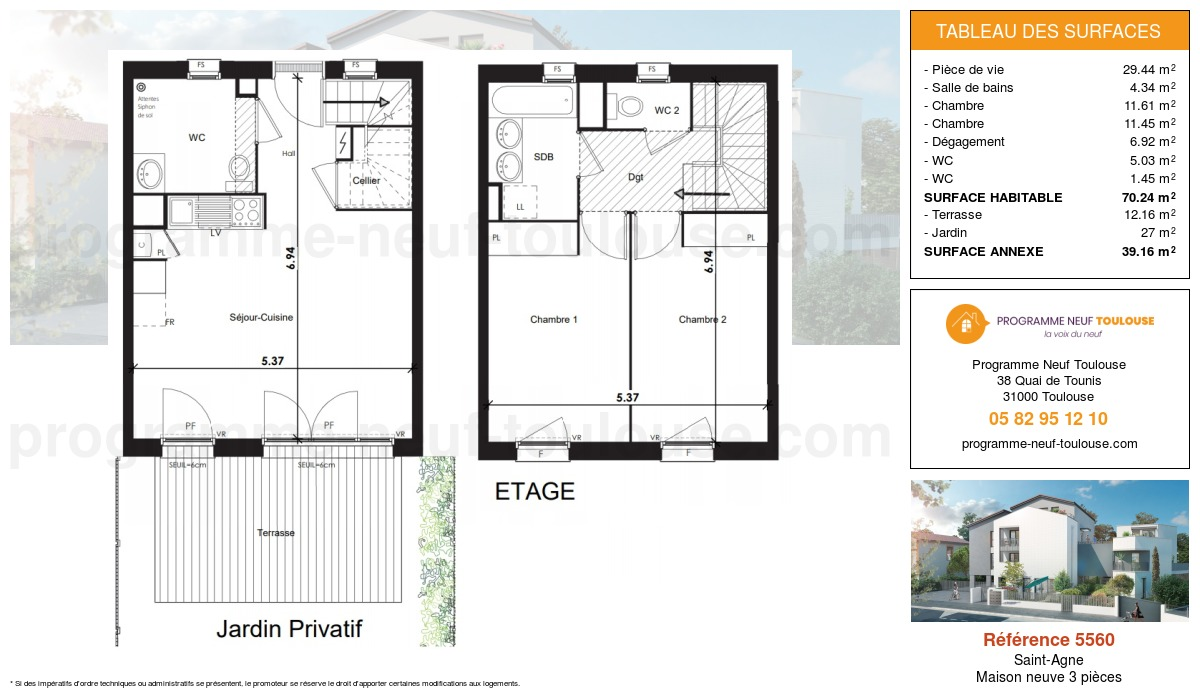 Plan pour un Maison neuve de  70.24m² à Saint-Agne