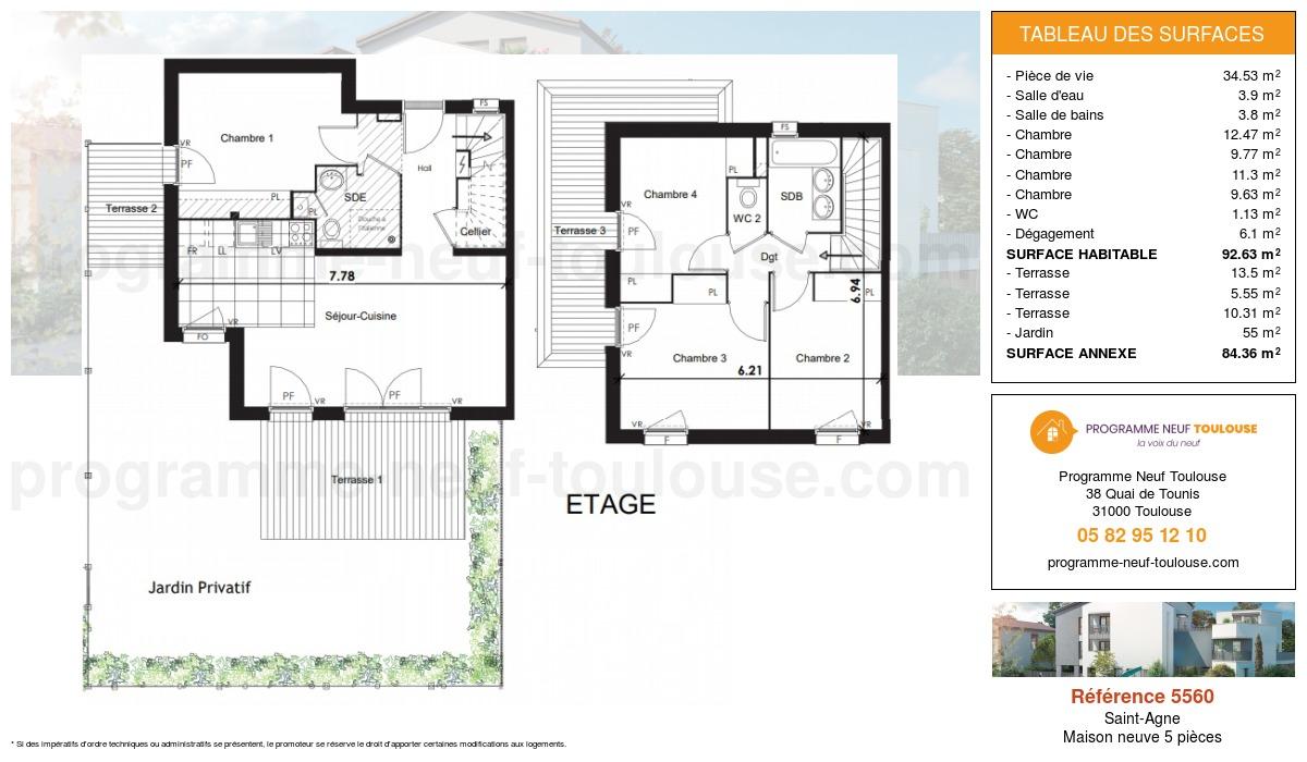 Plan pour un Maison neuve de  92.63m² à Saint-Agne