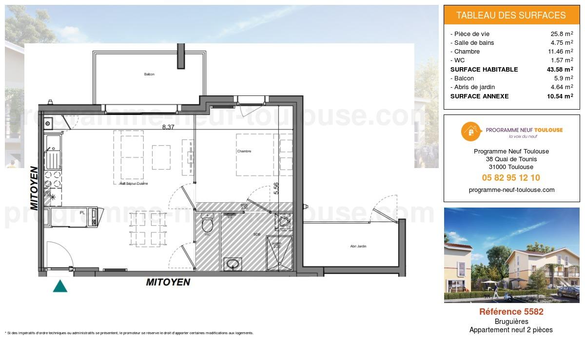 Plan pour un Appartement neuf de  43.58m² à Bruguières