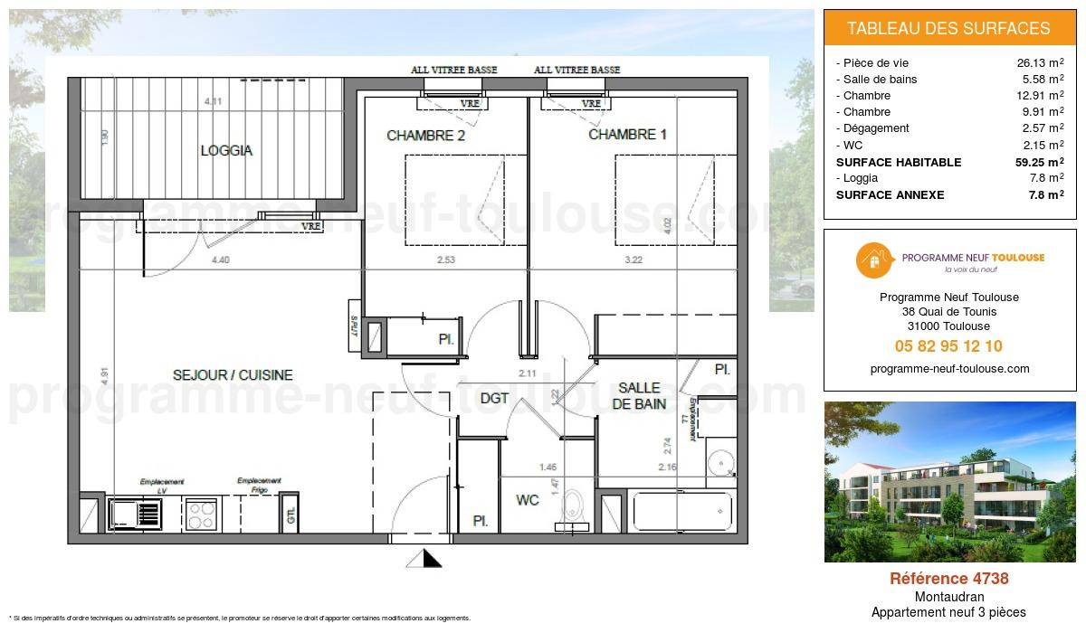 Plan pour un Appartement neuf de  59.25m² à Montaudran