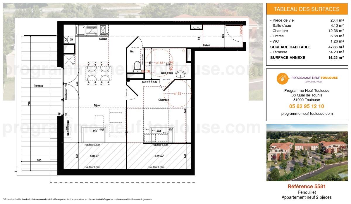 Plan pour un Appartement neuf de  47.83m² à Fenouillet