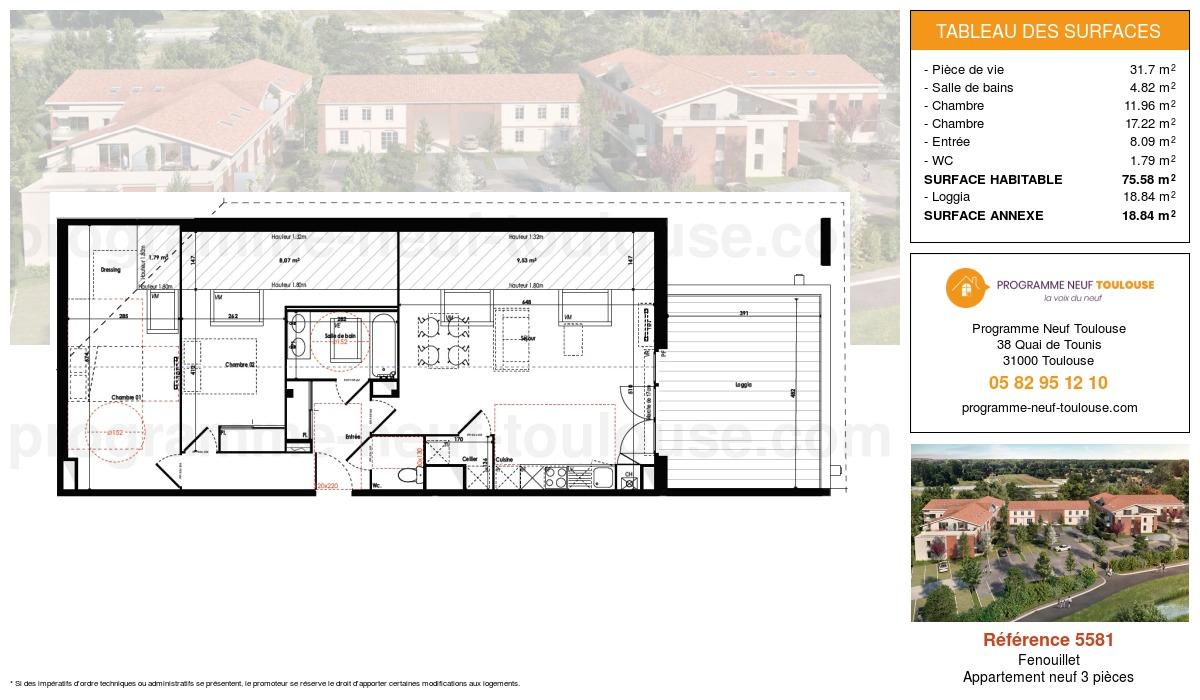Plan pour un Appartement neuf de  75.58m² à Fenouillet