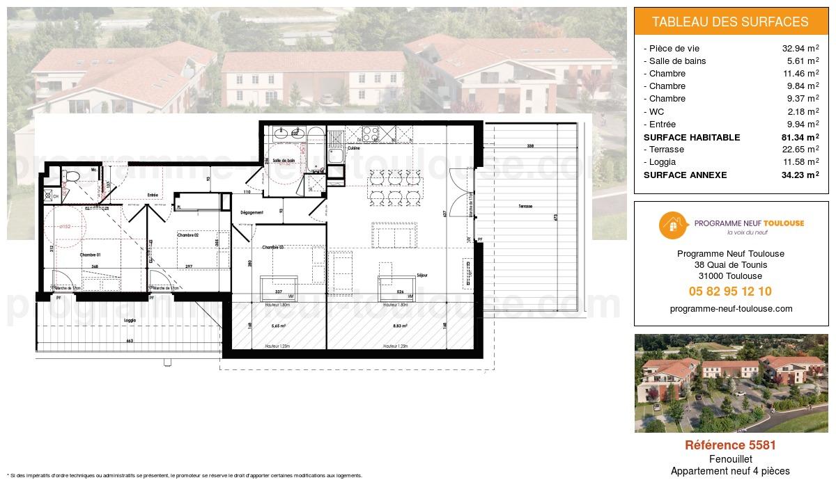 Plan pour un Appartement neuf de  81.34m² à Fenouillet