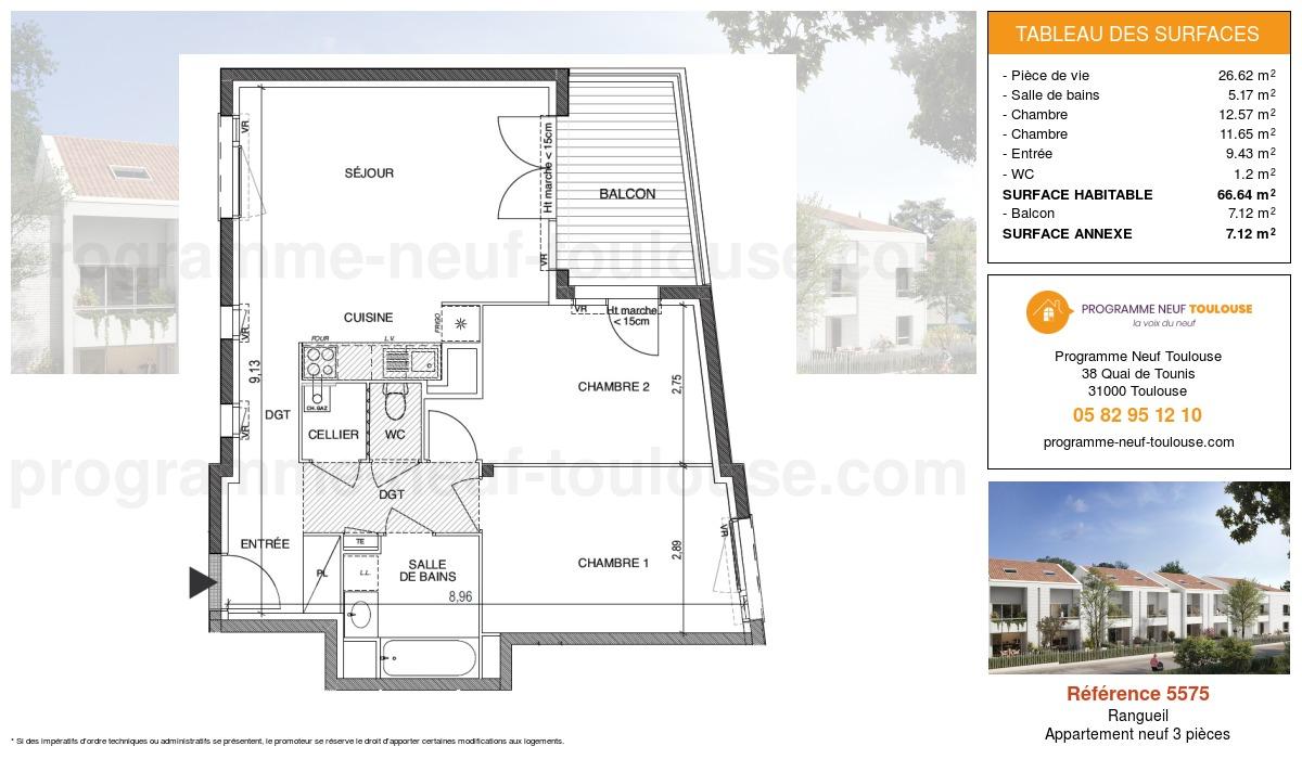 Plan pour un Appartement neuf de  66.64m² à Rangueil