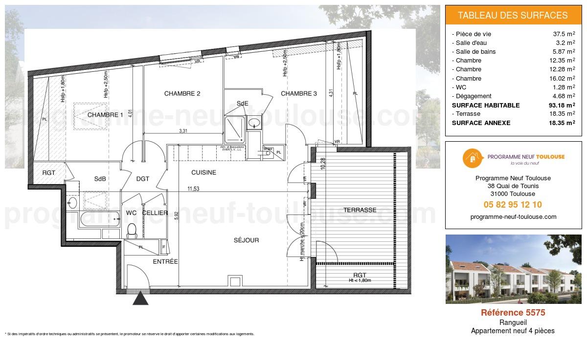 Plan pour un Appartement neuf de  93.18m² à Rangueil