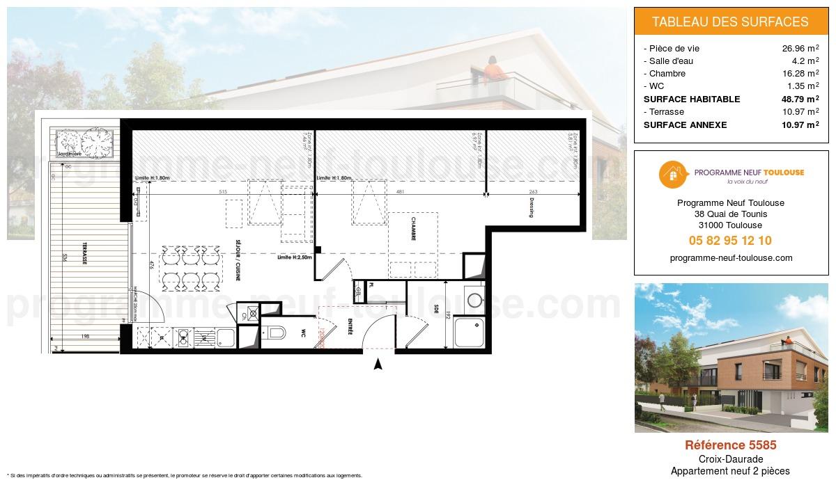 Plan pour un Appartement neuf de  48.79m² à Croix-Daurade