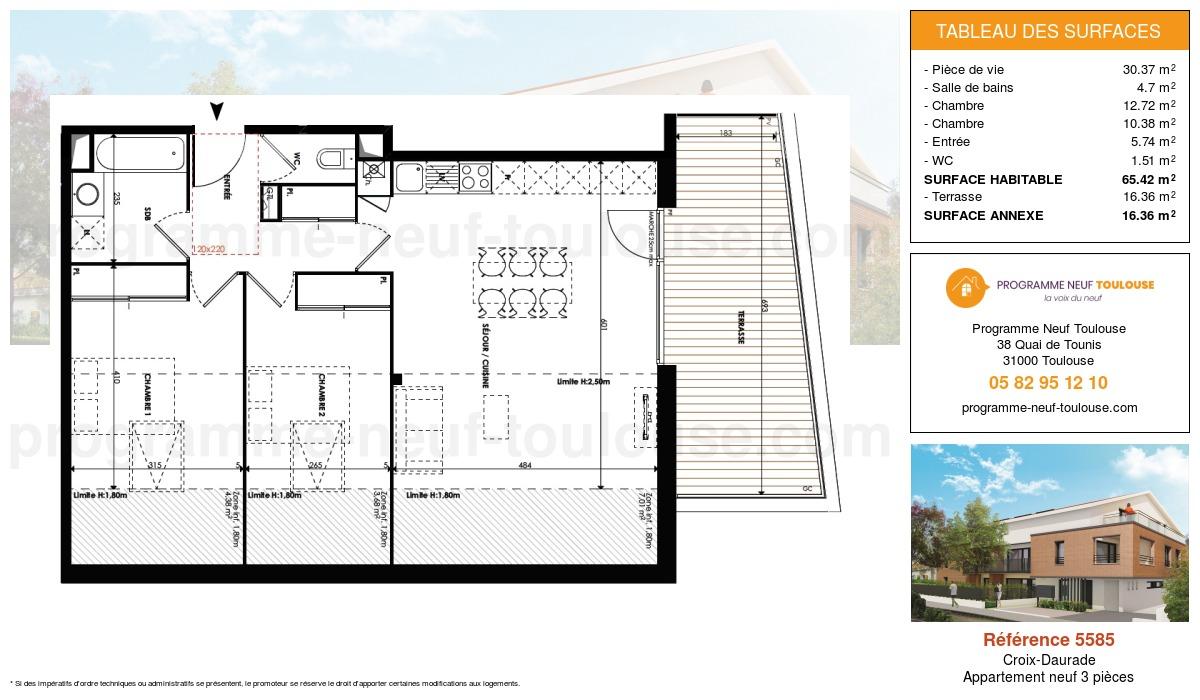 Plan pour un Appartement neuf de  65.42m² à Croix-Daurade