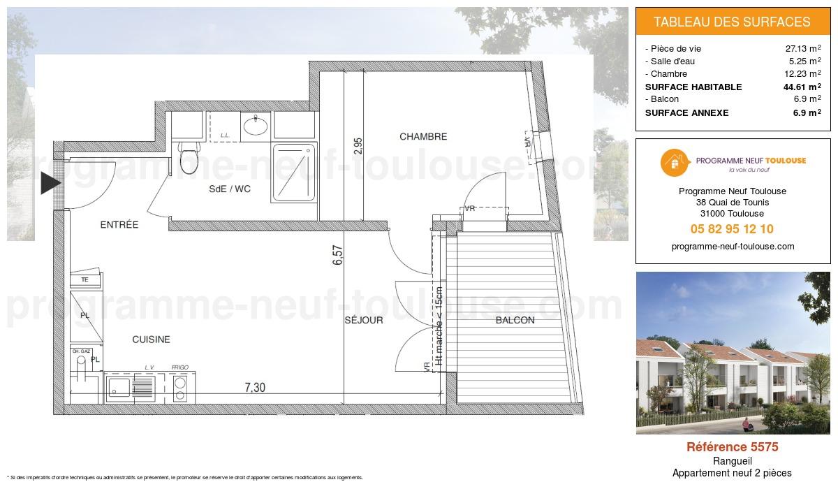 Plan pour un Appartement neuf de  44.61m² à Rangueil