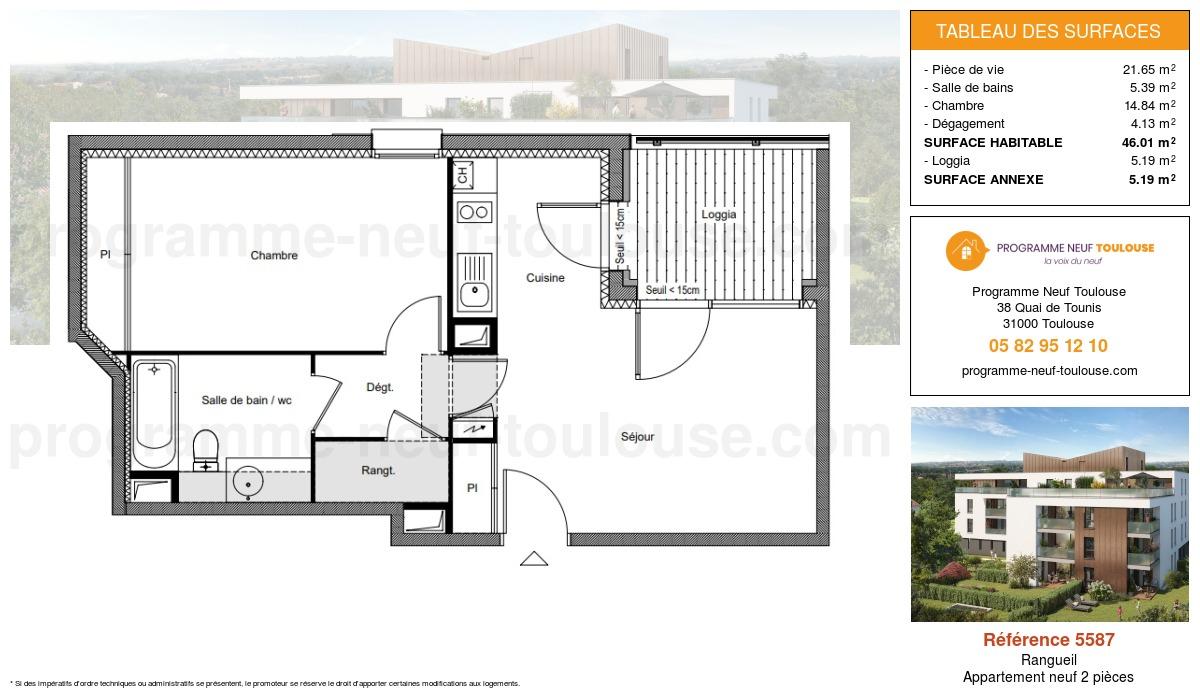 Plan pour un Appartement neuf de  46.01m² à Rangueil